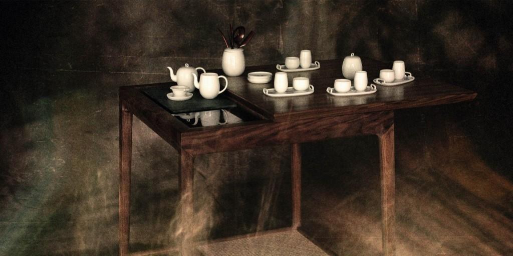 """Table à thé """"Da Tian DI"""" en bois de noyer avec plateau coulissant et une plaque chauffante en pierre, Shang Xia."""