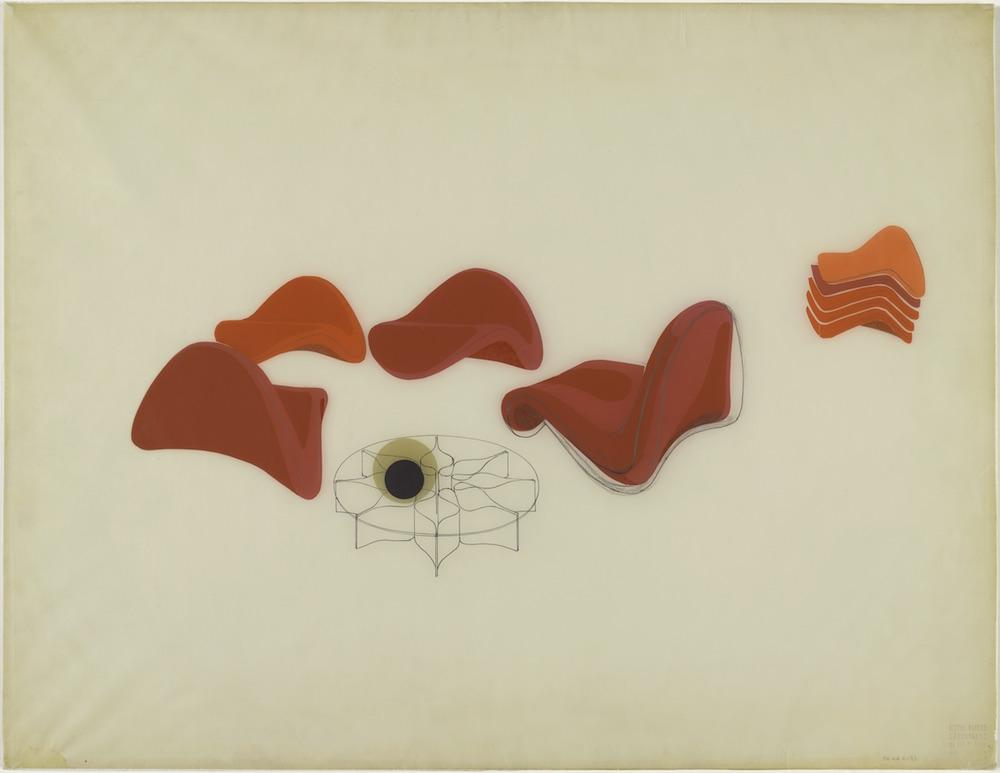 Etude pour le siège Tongue et la table Rosace circa 196 Rétrospective Centre Georges Pompidou