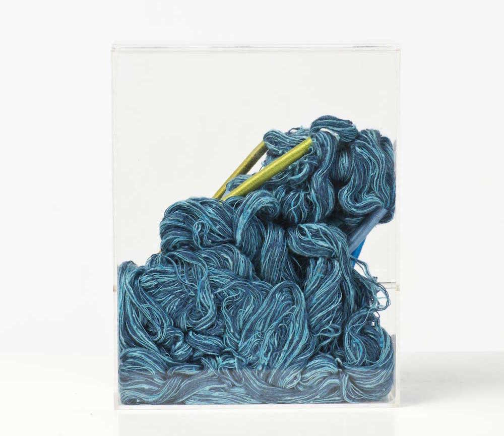 Sheila Hicks, Tapisserie coton, soie et plexiglas, encadrement réalisé par Claude de Muzac, création 1980