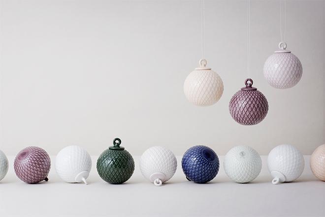 "Boules de Noël ""Rhombe Baubles"" Lyngby porcelain"