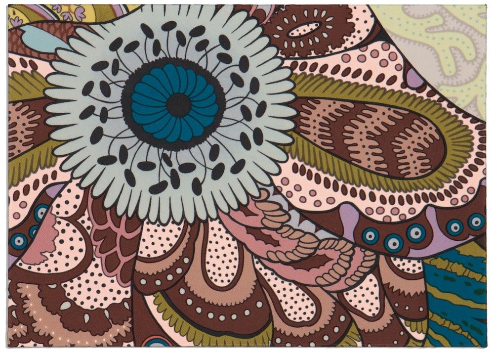 Carte postale de soie Fleurs d'Indiennes, dessin d'Aline Honoré, Hermès ©VicenteSahuc