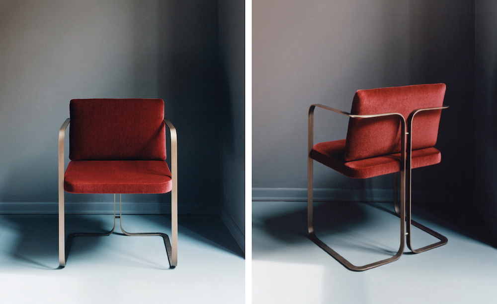 Chaise Murena en acier inoxydable, outdoor, Marta Sala Éditions