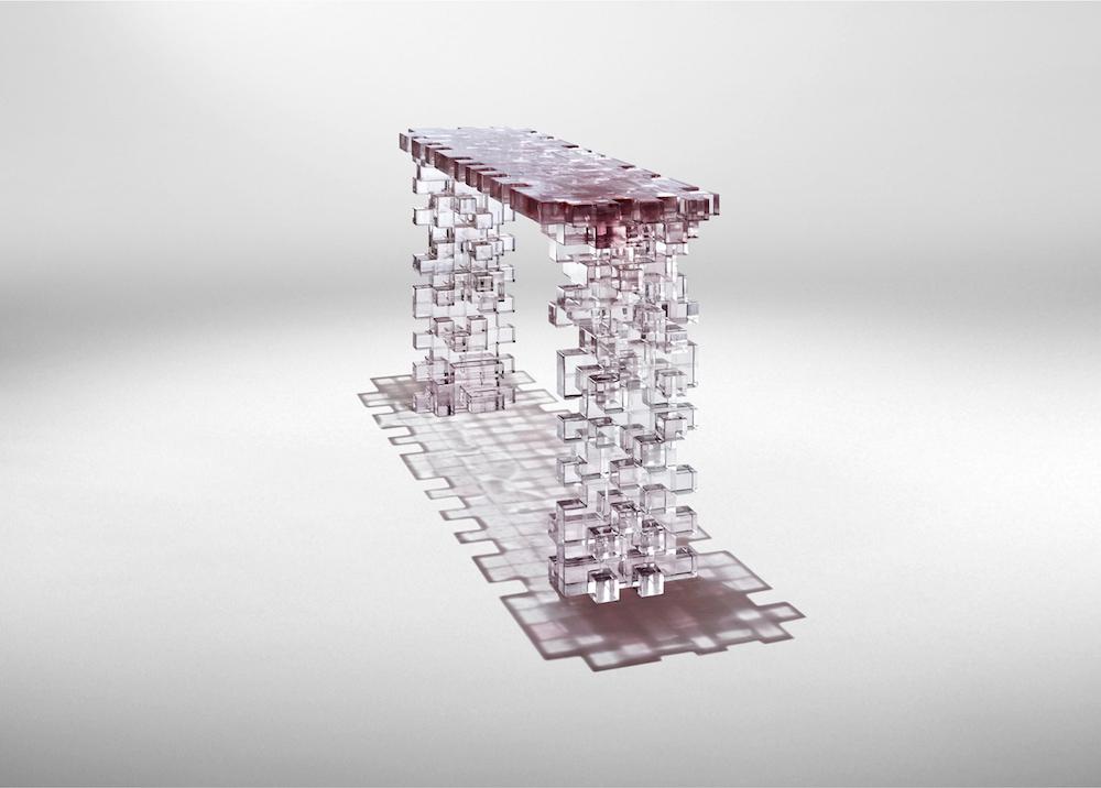 """Console """"Presenze"""", epoxy résine et pigment design StudioNucleo pour Nilufar Gallery"""