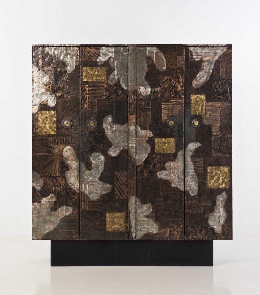 Cabinet cuivre, acier, laiton et bois Edition Directional, création 1968, Paul Evans