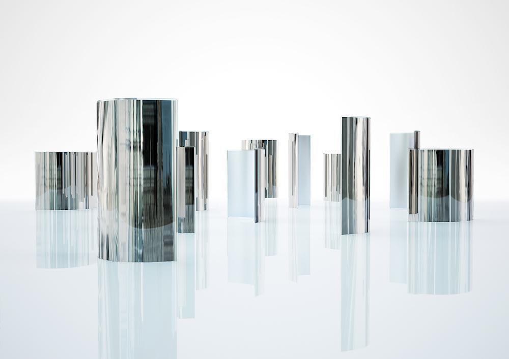 """Paravent """"Prism Partition"""" en cristal, courbé et agenté à la main, design Tokujin Yoshioka, Glas Italia"""