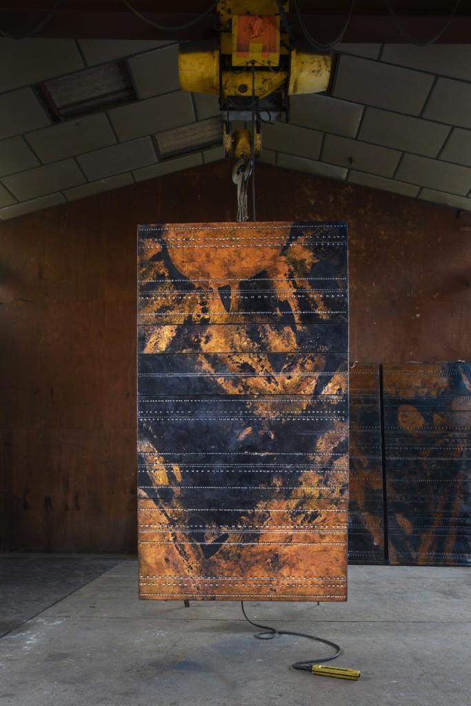 Pierre Sabatier Cosmos 68-05 set de cinq panneaux de la Tour d'Aquitaine La Défense (Hauts de Seine 1967)
