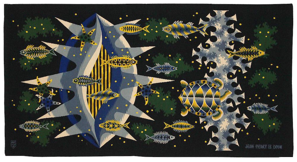Tapisserie Profondeurs, réalisée à Aubusson haut 103 x198 cm de large, 1962 par Jean Picart Le Doux, Galerie Chevalier