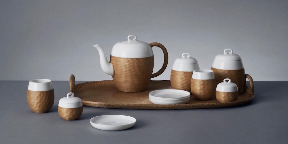 """service à thé """" Qiao"""" Bambou et porcelaine, Shang Xia"""